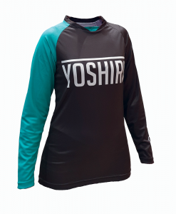 Yoshira Womens Grey and Celeste Enduro MTB Jersey Front